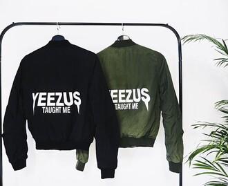 coat cute streetwear streetstyle bomber jacket yeezus black olive green green tumblr