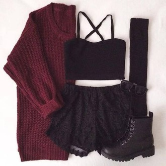 top shirt shorts black shorts comfy shoes sweater pants skirt crop tops black crop top bustier bustier crop top bustier top cardigan combat boots black combat boots marron sunglasses dress hair accessory hat t-shirt tank top coat burgundy black