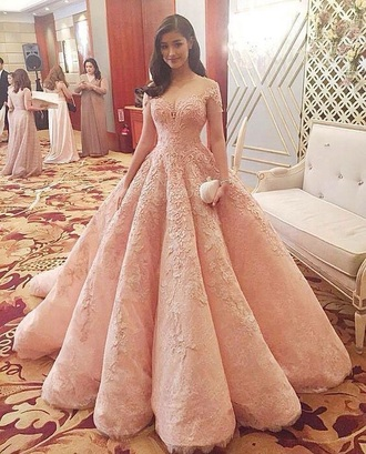 dress gown prom gown prom dress pink pink dress embellished dress fancy dress elegant dress formal dress runway long prom dress evening dress blush pink off the shoulder off the shoulder dress gorgeous ball ball gown dress prom princess kpop lace long dress sleeveless lace dress