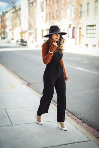 fashionbananas blogger hat sweater jumpsuit shoes black jumpsuit high heel pumps spring outfits