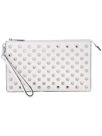 women clutch leather white bag