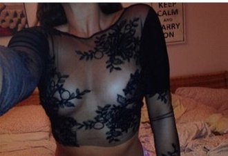 shirt lace sheer black nipple piercing boobs blouse crop tops transparent shirt transparent see-through