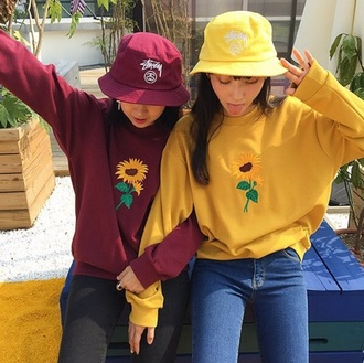 sweater yellw red suflower shirt grunge colorful aesthetic tumblr aesthetic tumblr yellow sunflower sweatshirt cute 80s style girly flowers plants urban pastel casual burgundy sweater