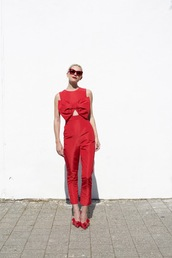 atlantic pacific,blogger,jumpsuit,shoes,sunglasses,All red outfit