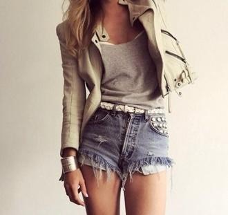 shorts denim shorts jacket short jeans studded