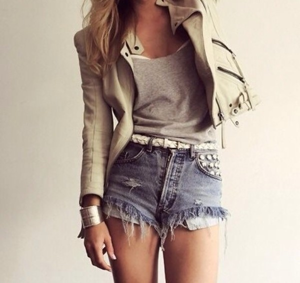 shorts denim shorts jacket short jeans studded