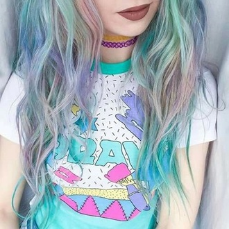 blouse pastel 80s style 90s style cute top kawaii green purple pastel green pastel hair kawaii dark soft grunge pastel grunge
