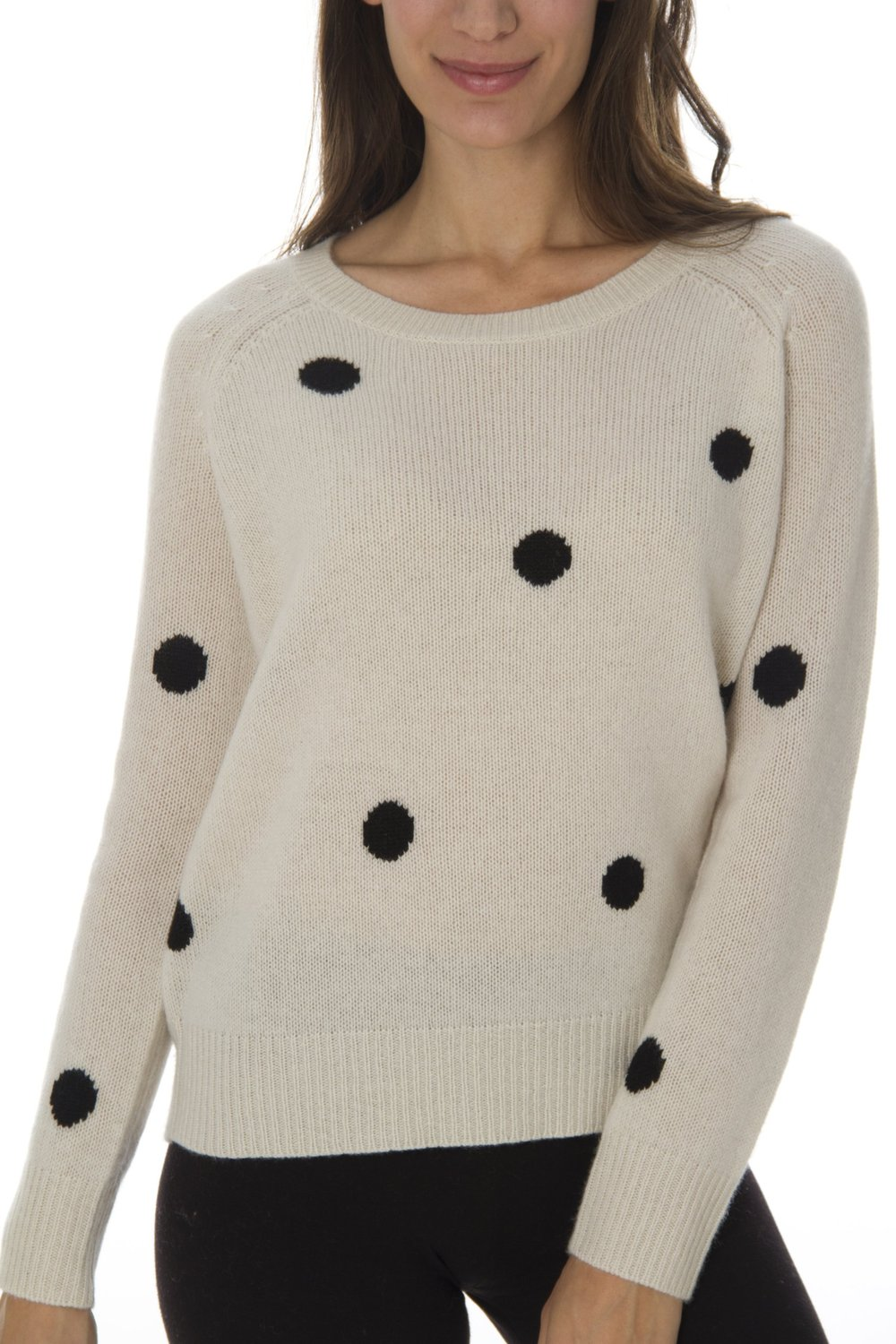 Women's 100% Cashmere Polka Dot Pullover - Small at Amazon Women's Clothing store: