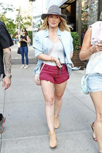 shorts shirt ankle boots hilary duff top blouse hat shoes