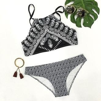 swimwear black and white swimwear bikini