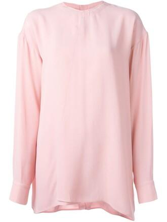 blouse drawstring purple pink top