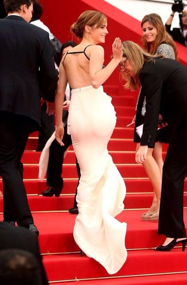 dress emma watson white long backless pretty