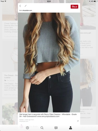 top crop tops grey top high waisted jeans and crop top jeans