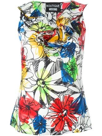 top sleeveless floral print white