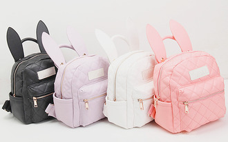 bag bunny ears kawaii bunny backpack pastel top pastel pink pastel purple pastel white kawaii bag school bag black white purple pink cute