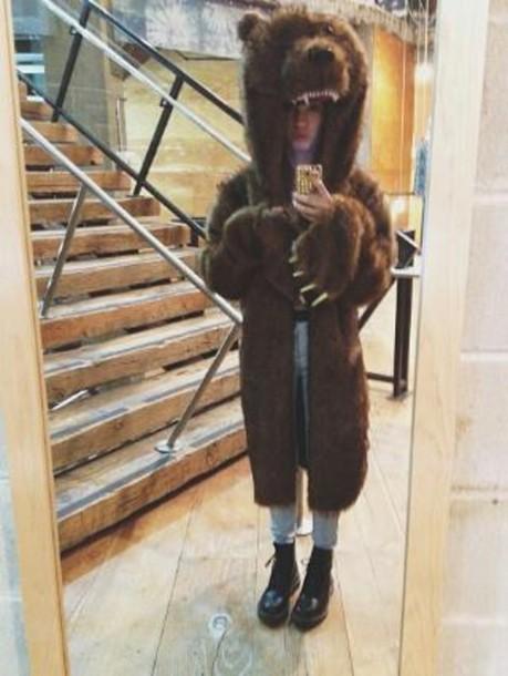 jacket bear costume brown bear cute instagram found on instagram pajamas