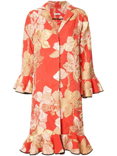 blazer embroidered women cotton yellow orange jacket