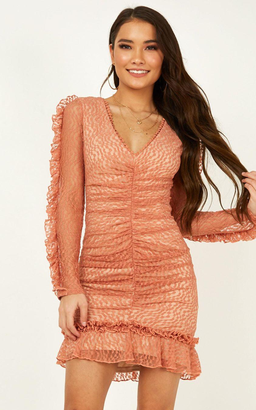 Showpo Speak To Us dress in peach lace - 6 (XS) Party Dresses