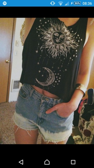 shirt black moon stars sun crop tops