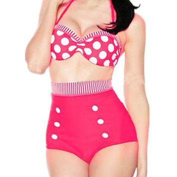 Retro pinup rockabilly vintage high waist bikini set swimsuit swimwear