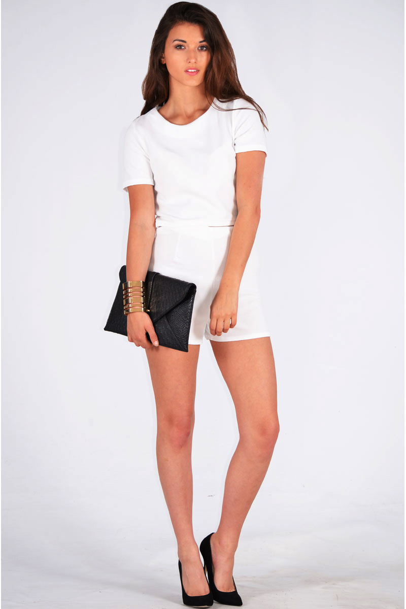 Ivonne Crepe Boxy Top & Short Two Piece Set In White