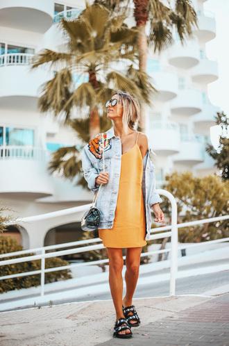 jacket tumblr denim denim jacket blue jacket dress mini dress orange orange dress sandals flat sandals bag shoes