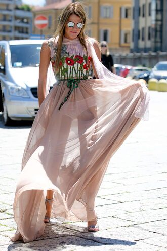 dress anna dello russo maxi dress summer dress sandals fashion week see through dress pink dress