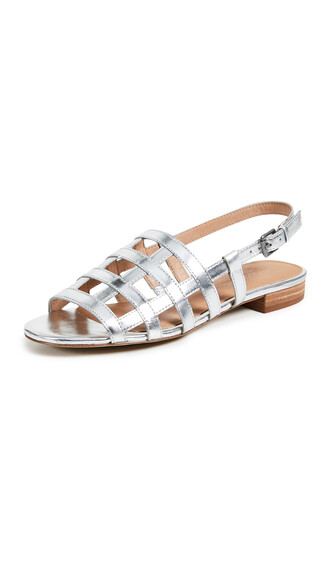 sandals metallic silver shoes