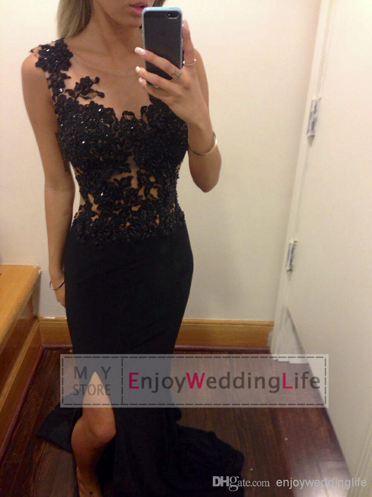 Cheap Prom Dresses - Discount 2014 Sexy Black Lace Prom Dresses Appliques Beaded Sheer Crew Neck Sleeveless Sweep Train Mermaid Formal Party Split Evening Gowns Bo6091 Online with $115.92/Piece | DHgate