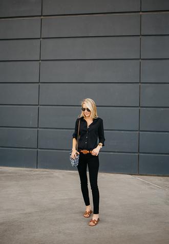 krystal schlegel blogger bag top jeans belt