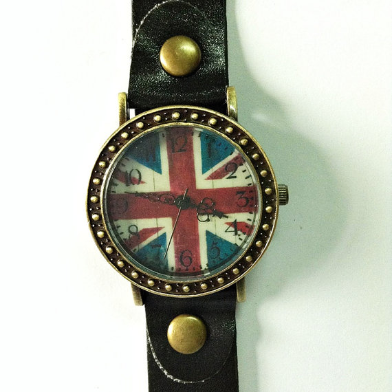 British Flag Watch Retro Leather Watch Vintage style by FreeForme