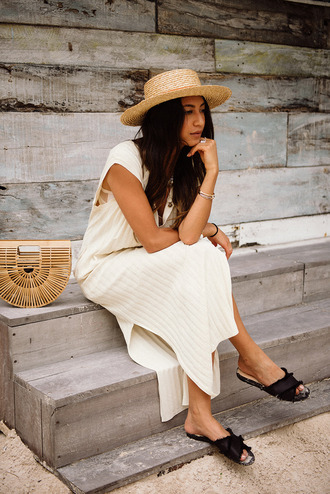 dress hat tumblr nude dress slit dress maxi dress sleeveless sleeveless dress shoes slide shoes bag basket bag sun hat