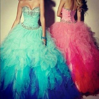 dress pink blue long long prom dress glitter dress
