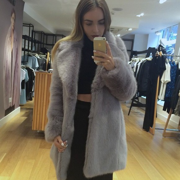faux fur grey coat faux fur coat lilac coat
