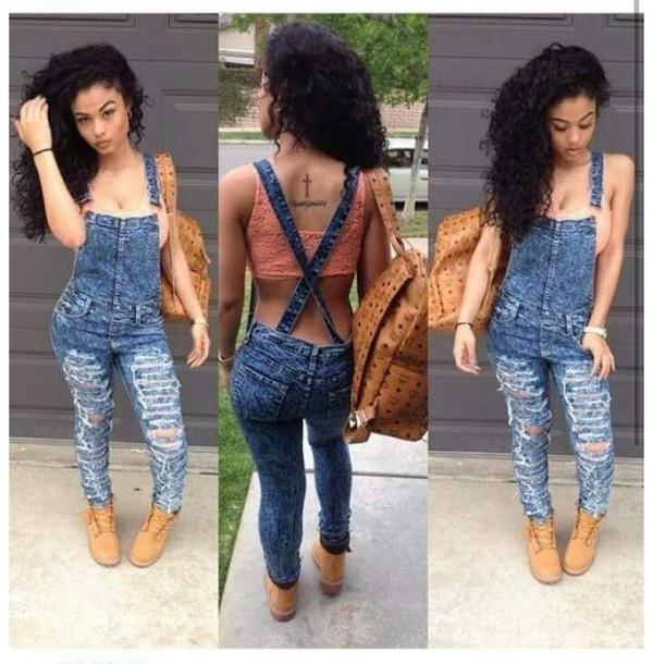 pants overalls jeans blouse bag