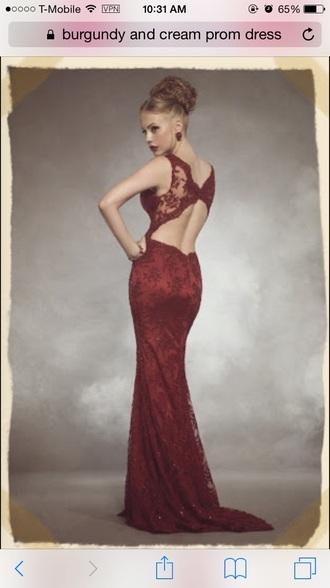 dress burgundy dress backless prom dress long prom dress lace dress