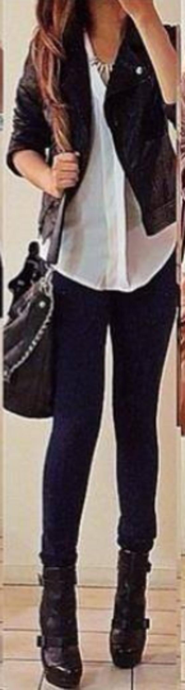 jeans jewels bag shoes blouse jacket