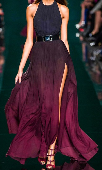 belt dress black and red dress long dress ombre dress slit sleeveless dress gothic dress tank top purple dress prom purple couture dress wine red clothes runway burgundy black dress blue model