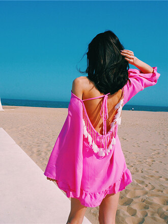 blouse girl girly girly wishlist pink cover up cute fringes open back beach dress pink dress summer dress