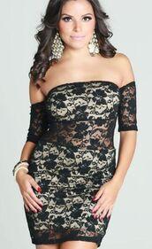 black and nude dress,off the shoulder dress,bodycon dress,semi sheer dress,mini dress,lace mini dress,www.ustrendy.com