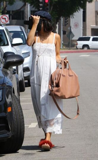 bag vanessa hudgens streetstyle summer outfits summer dress white white dress hat