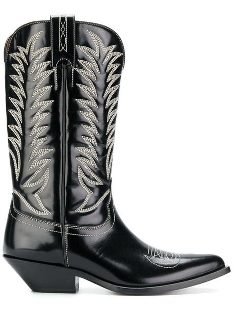 cowboy boots women leather black shoes