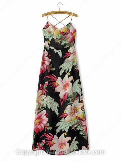 Black Spaghetti Strap Sleeveless Floral Print Chiffon Dress - HandpickLook.com