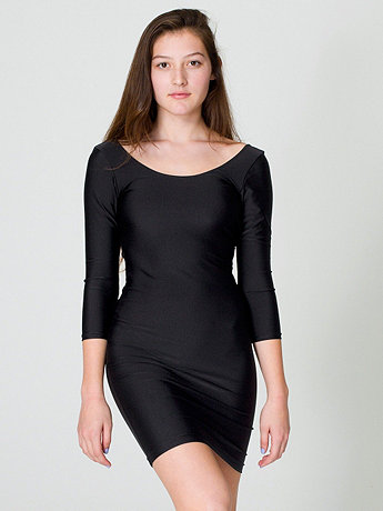 Nylon Tricot Double U-Neck 3/4 Sleeve Mini Dress | American Apparel