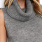 Warm-hearted grey sleeveless cowl neck sweater