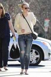 sweater,spring outfits,dakota fanning,flats,jeans