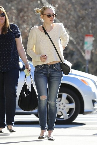 sweater spring outfits dakota fanning flats jeans