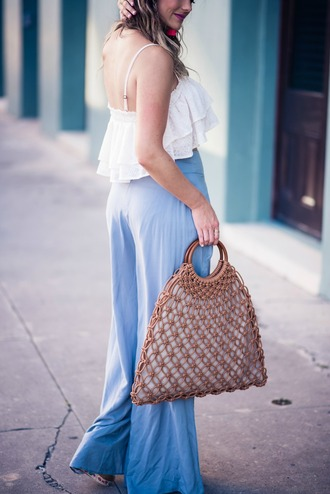 bag tumblr brown bag top white top crop tops pants blue pants wide-leg pants