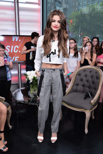shirt selena gomez pants t-shirt selena top gorgeous white