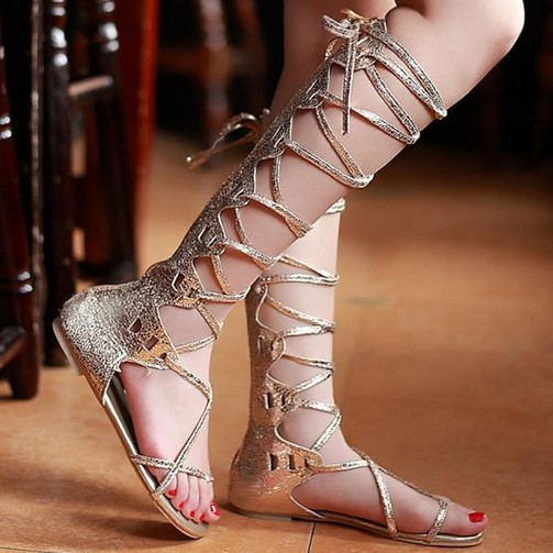 Aliexpress.com : Buy Plus Size 34 43,2014 Summer Fashion Cross Strappy Gold Silver Flat Heel Knee High Thong Gladiator Sandals. SSA41005 from Reliable sandals 4 suppliers on Cheap Shoes Online!